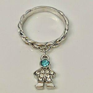 Kirks Folly Silver Tone Baby Boy Blue Crystal Ring